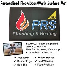 Personalised Floor Door Work Surface Mat. Rubber Backed Non Slip. 60x40cm