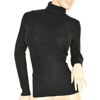 MAGLIETTA NERA donna collo alto maglia manica lunga maglione pullover lana E15