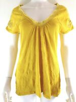 Anthropologie Pilcro Letterpress Womens Size L Top Yellow Cap Sleeve Embroidered