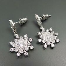 Shiny Silver Rhodium Plated Sparkling CZ Cubic Zirconia Snowflake Drop Earrings