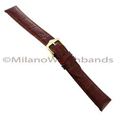 16mm Hirsch Duke Alligator Grain Genuine Leather Medium Brown Watch Band Regular