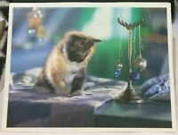 Postcard Animal Cat Kitten and baubles - posted 1994