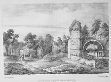 Antiguo Viejo impresión litografía c1824 lillyshal Abbey Lilleshall Shropshire