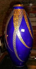 ancien vase signé PINON-HEUZE Atelier de Tours faïence fine emaillée à fond bleu