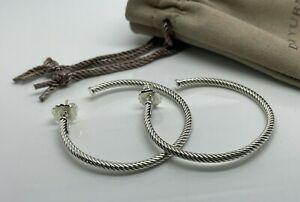 """David Yurman Medium 2"""" Cable Classics Hoop Earrings Sterling Silver 925"""
