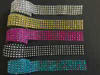 2m x 25mm (5 Rows) Diamante Effect Ribbon for Bridal, Wedding Cake Decoration