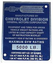 1955 2nd Series Identification Cab Door Post Plate 1/2 ton Chevy Truck 55