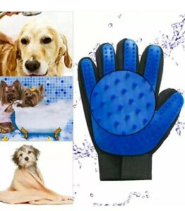 FiveFinger Right Hand Deshedding Glove for Pet Grooming Cats Dogs blue color