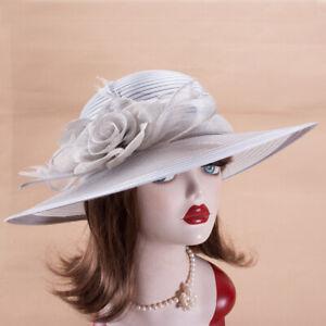 Womens Church Kentucky Derby Carriage Wedding Satin Ribbon Sinamay Hat X757