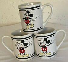 New listing Disney Mickey Mouse 3 pc Set Coffee Mug Tea Cup Gibson White Black Stripes