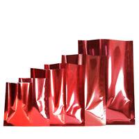 Gloss Red w/ Silver Inside Open Top Mylar Type Heat Sealant Bags Flat Pouch