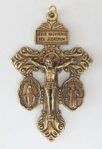 Brass Pardon Crucifix with side medals for Rosary Making or Pendant CR07