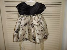 Marmellata baby girls gold and black flocked holiday dress, size 12 mo.  EUC