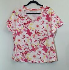 Women's Faded Glory Stretch Perfect Fit Floral Pullover V-Neck Top Size 18/20W