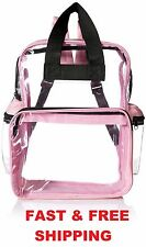 PVC Clear Backpack Bags Plastic Zippered Pocket Tote Shoulder Carry Women Pink