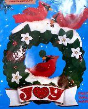 """Christmas Wall Hanging Kit 13""""x15  Wreath with Cardinals """"Joy"""" Titan No.93211"""