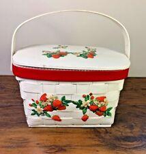 Vintage Annie Laurie Wood Woven Basket Purse Strawberries Picnic Purse