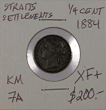 Straits Settlements 1/4 Cent 1884. XF+. KM 7A