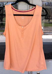 Gilligan & O'Malley Sleepwear Tank Top Large Peach Orange Cotton Blend