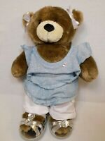 Build a Bear Girl w Complete Outfit Silver Sparkle Blue White Shorts Shoes Brown