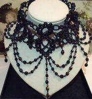 1990s Vintage Victorian Inspired Festoon Faceted Peacock Bead Choker Necklace