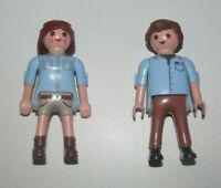 Playmobil Figurine Personnage Lot Couple Aventurier Homme + Femme Chemise Bleu