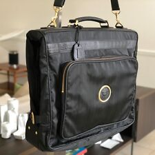 GIANNI VERSACE garment bag nylon w/ leather trim, Medusa & Greek Key details