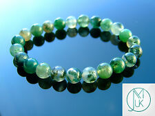 Moss Agate Natural Gemstone Bracelet 7-8'' Elasticated Chakra Healing Stone