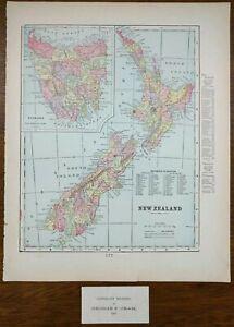 "Vintage 1901 NEW ZEALAND Map 11""x14"" ~ Old Antique Original WELLINGTON NEWTOWN"