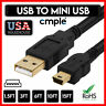 Mini USB Cable USB 2.0 A to B Cord Data Sync Charge GoPro GPS DVR POS Machine