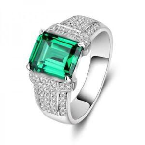 Men's 4.00 Ct Green Emerald and Diamond Wedding Band Ring 14k White Gold Finish
