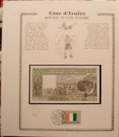 West African Ivory Coast Banknote 500 Francs 1987 A P 106Ak FDI UN FLAG UNC J.18