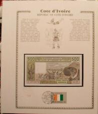 New listing West African Ivory Coast Banknote 500 Francs 1987A P106Ak w/Fdi Un Flag Unc J.18