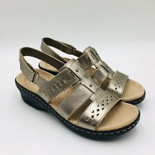 Clarks Collection Lexi Qwin Leather Slingback Sandal, Pewter Metallic