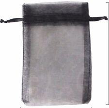 100 Pcs Black Organza Drawstring Pouches  Party Wedding Favor Gift Bag 5 x 7 in