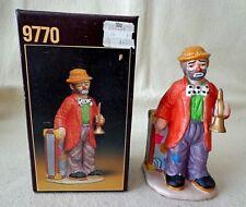 "Flambro ""Clown Holding A Horn"" Figurine by Emmett Kelly Jr.,Porcelain, 5.5"" Tll"
