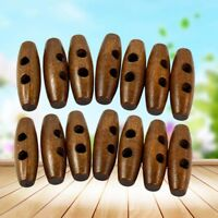 1000x Olive Shape Wooden Toggle Buttons 2 Holes Sewing Buttons for Clothes Decor
