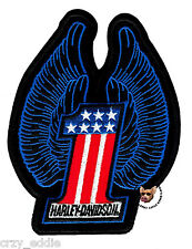 HARLEY DAVIDSON MEDIUM USA NUMBER ONE PATCH WITH WINGS VEST JACKET PATCH