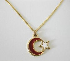 """NEW TURKISH MOON & STAR NECKLACE ON 18"""" GOLD CHAIN. G4"""