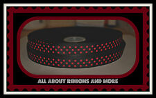 5/8 INCH BLACK AND RED GROSGRAIN POLKA DOT RIBBON- 1 YARD