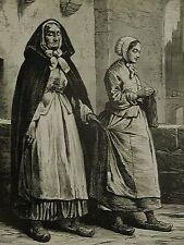 Malines Belgium 1876 GIRL KNITTING & LEADING BLIND NUN Antique Art Print Matted