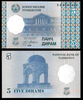 Tajikistan 5 Dirams 1999 P11  @ Crisp UNC World Paper Money
