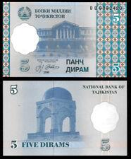 New ListingWorld Paper Money - Tajikistan 5 Dirams 1999 P11 @ Crisp Unc