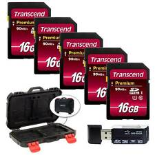 Transcend 16GB SDHC Class10 UHS-I 400X SD Memory Card (5-Pack) + Reader & Case!