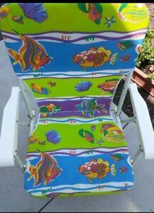 Folding Aluminum Low Profile Beach Sand Chair Fish Seashells Green Blue Design