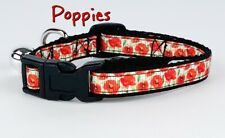 """Poppies cat or small dog collar 1/2"""" wide adjustable handmade bell leash"""