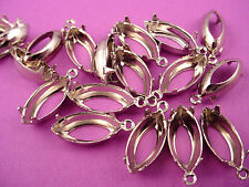 18 Silver Tone Navette 15x7 1 Ring Open Back charms