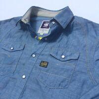 G Star Raw Denim mens shirt Medium Blue pearlsnap button linen cotton rrp$150