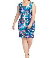 Jete Sleeveless Printed Scuba Knit Sheath Dress Deep V Neck Size XL