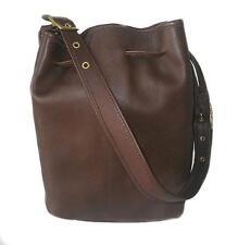 Coach Vintage Leather Mahogany Brown Medium Bucket Drawstring Tote Bag Purse USA